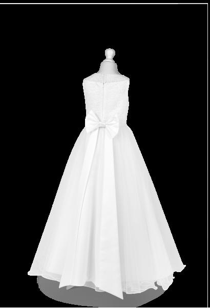 efektowna kokarda z tyłu sukienki komunijnej
