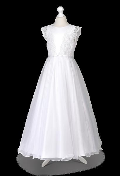 komunijna sukienka z szyfonem z satyny