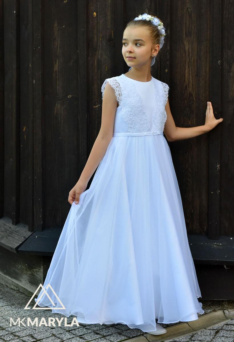 sukienka komunijna z satyny z koronkową taśmą