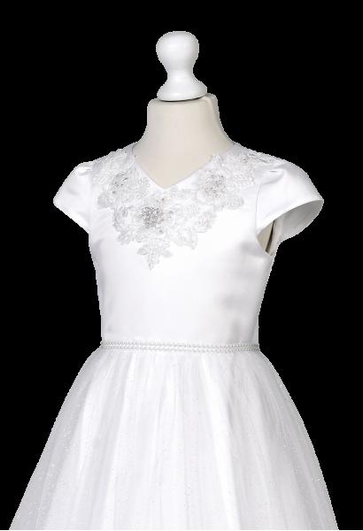 sukienka komunijna z szyfonową spódnicą i piękną aplikacją