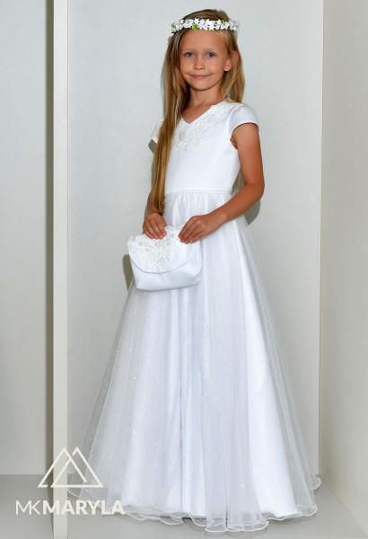 sukienka komunijna z brokatowym szyfonem i perełkami