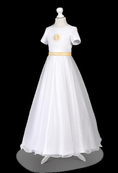 sukienka satynowa złoty IHS i pasek