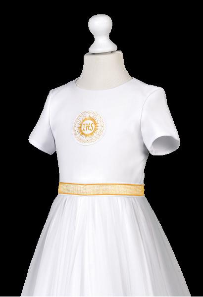 sukienka z szyfonem z satyny złota