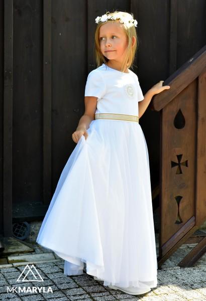 sukienka z szyfonem i srebrnym IHS