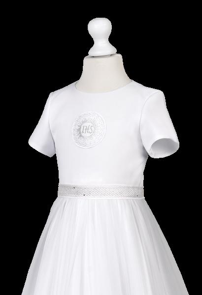 sukienka komunijna z satyny srebrny IHS