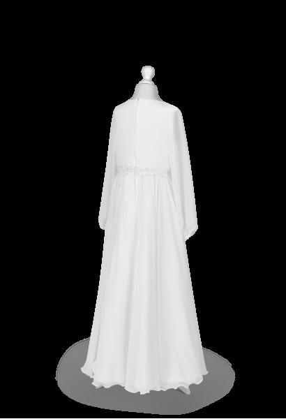 tył sukienki komunijnej z muślinu