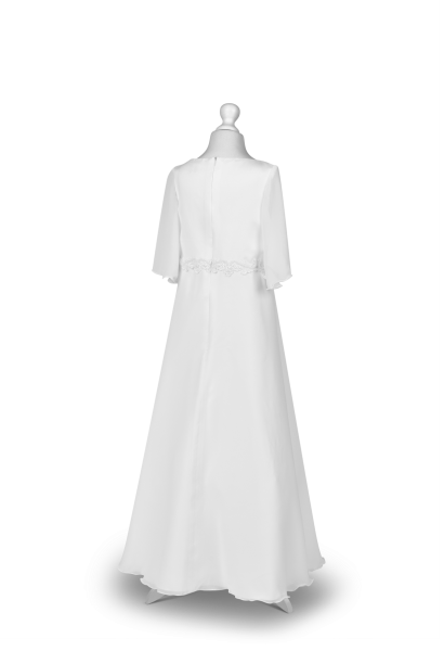 sukienka do Pierwszej Komunii Świętej z muślinu tył