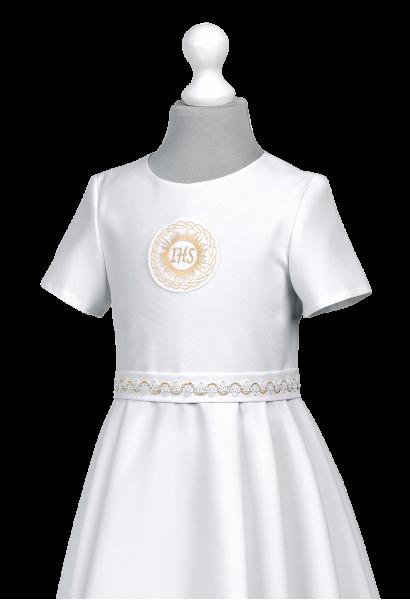 sukienka komunijna z kontrafałdami na spódnicy