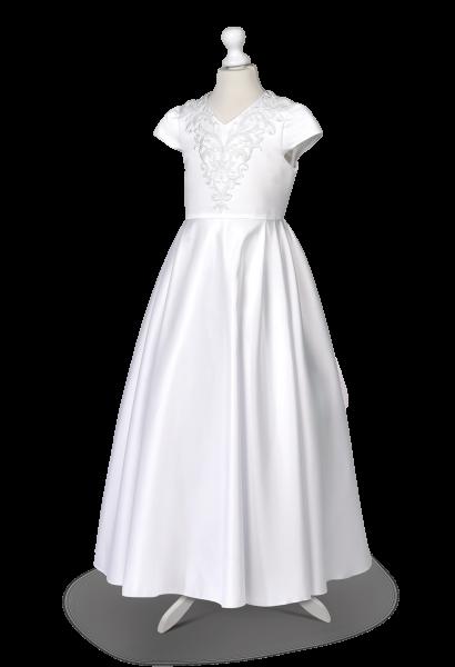 sukienka komunijna satynowa z piękną spódnicą