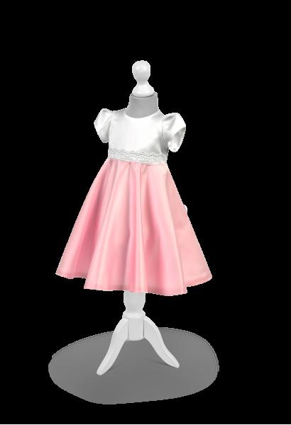 sukienka satynowa biało-różowa na roczek