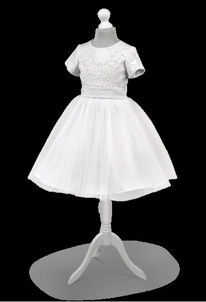 biała krótka sukienka do pierwszej komunii z szyfonową spódniczką