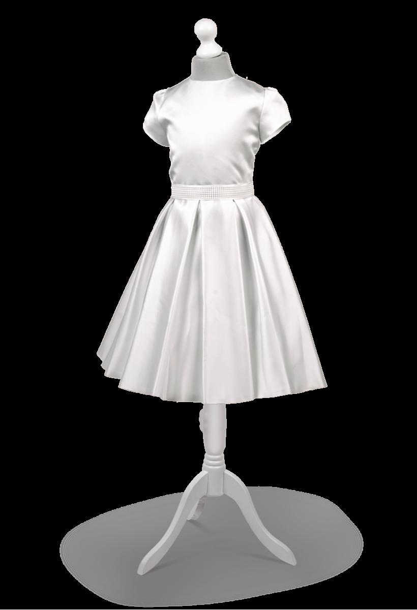 Krótka  biała sukienka komunijna zdobiona perełkami Lena BI-028