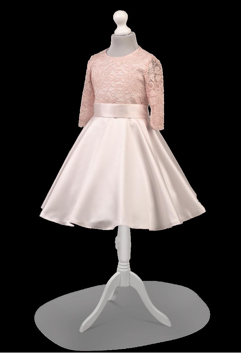 Sukienka okolicznościowa w kolorze delikatnego różu ,tył zdobiony kokardą Alicja RO-027