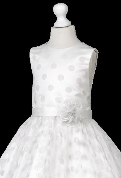 sukienka śmietankowa z tiulem kropeczki