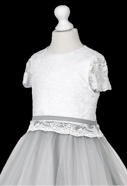 piękna biało-szara sukienka wizytowa
