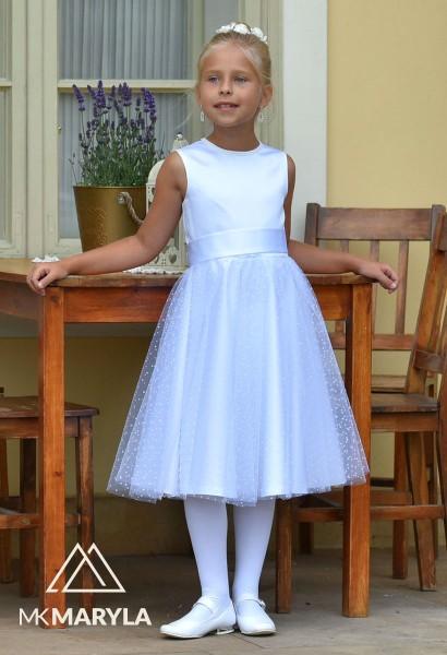 sukienka pokomunijna szyfon kropeczki
