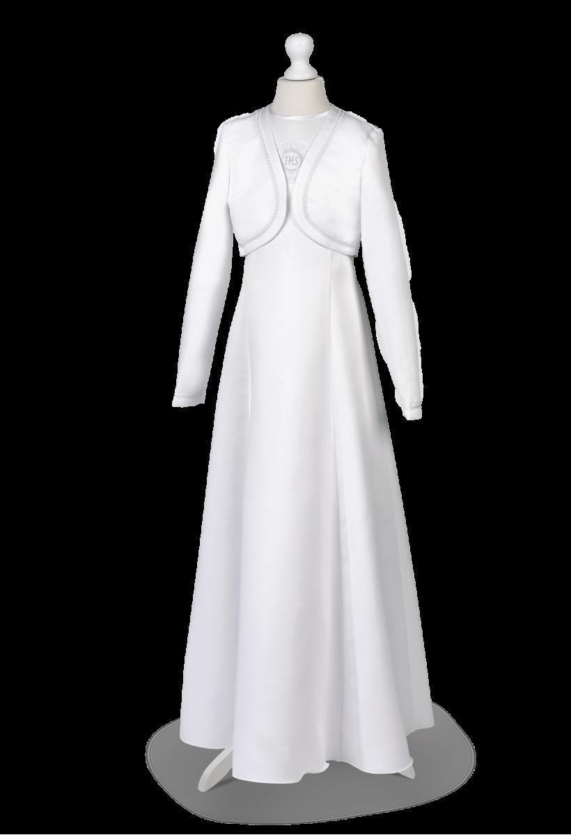 sukienka komunijna z satyny z bolerkiem