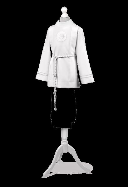 Strój komunijny dla chłopca zdobiony srebrną tasiemką Antoś SR-012