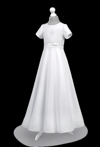 Sukienka komunijna z koronką w pasie - Marta BI-029