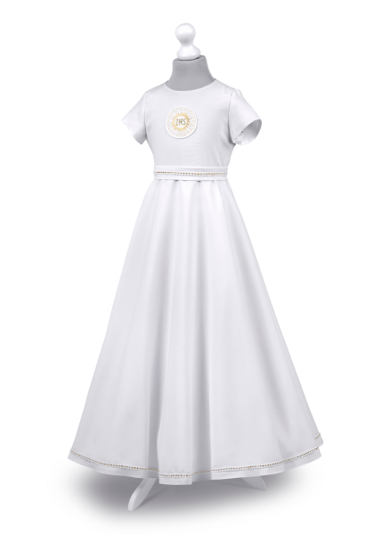sukienka komunijna zdobiona delikatną złotą tasiemką
