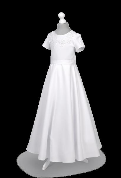 sukienka komunijna z półkoła z symetrycznymi aplikacjami na korpusie
