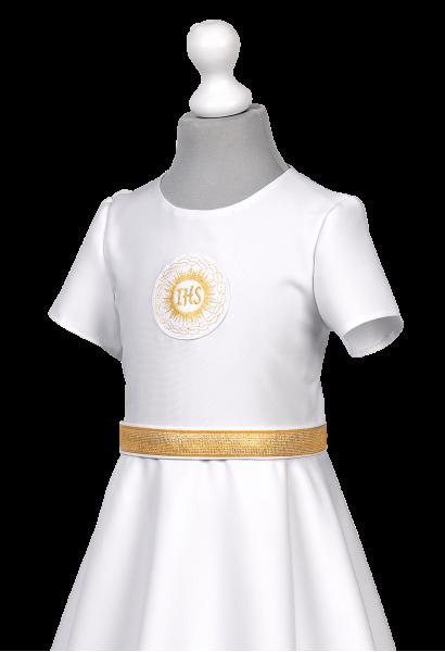 sukienka komunijna zdobiona na złoto