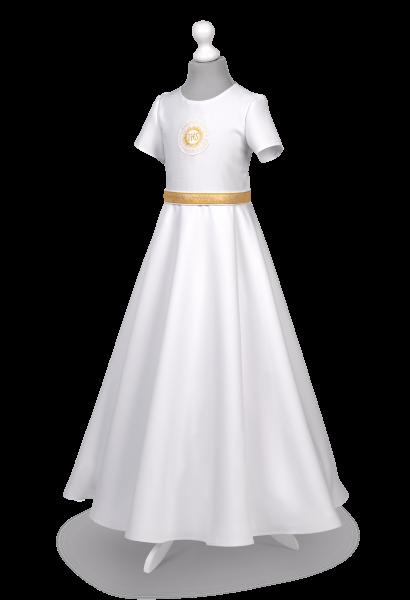 Sukienka komunijna ze zdobieniami w kolorze złotym- Marta ZŁ-025