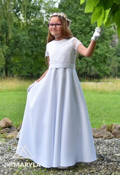 sukienka komunijna z satyny w połączeniu z koronką