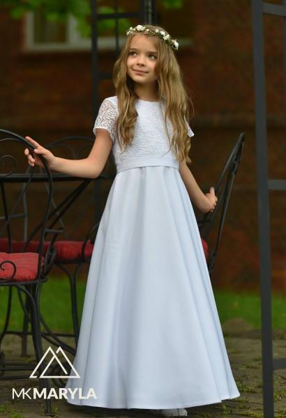 sukienka komunijna z satyny z koronkowym korpusem