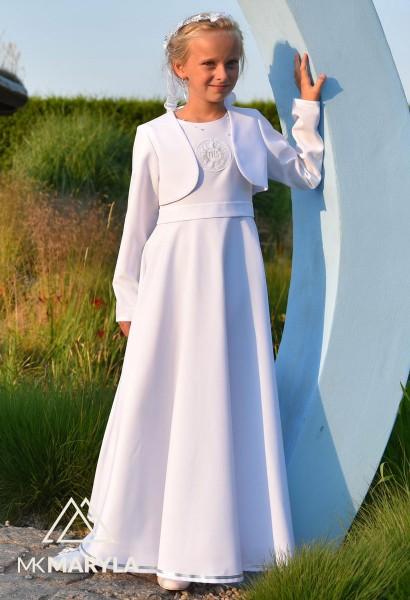 sukienka komunijna srebrne zdobienie