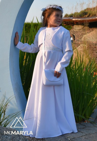 sukienka komunijna z półkoła srebrne zdobienia