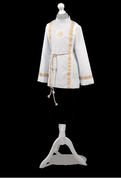 Ubranie komunijne dla chłopca zdobione na rękawach oraz zakładkach Bartosz ZŁ-006