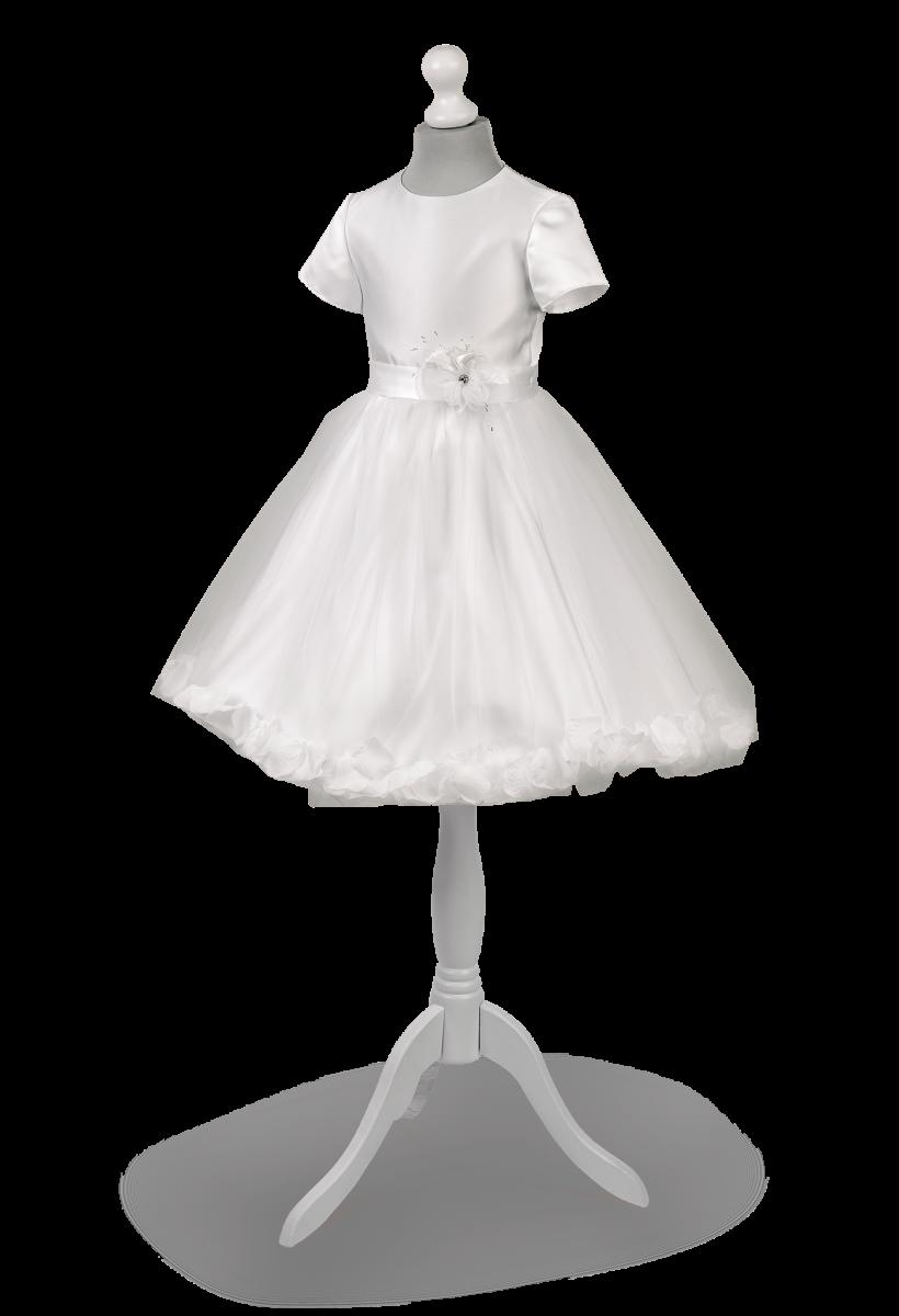 Zwiewna sukieneczka  okolicznościowa dla dziewczynki z białej satyny Różyczka BI-030