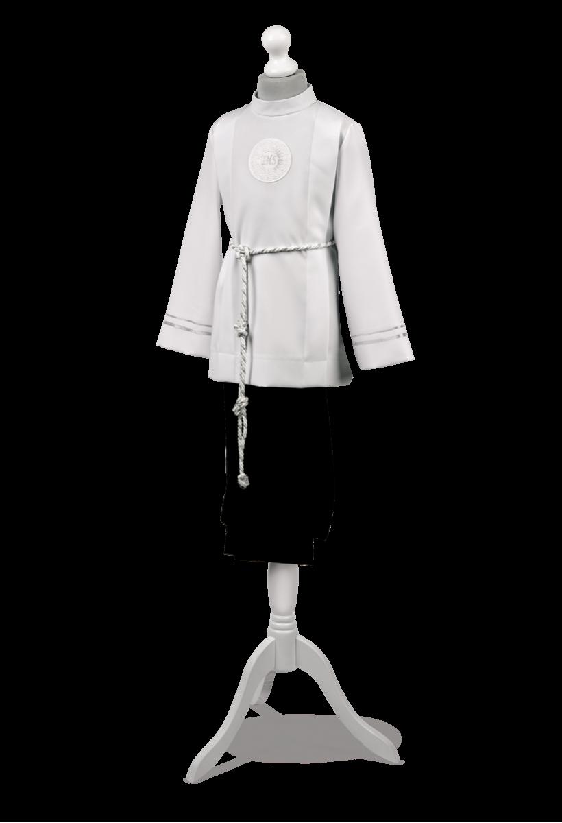 Strój komunijny dla chłopca zdobiony srebrną tasiemką Bartosz SR-012