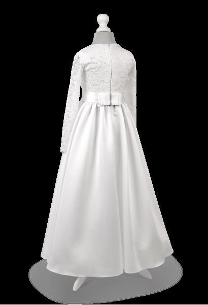 Satynowa sukienka do Pierwszej Komunii Świętej z koronką - Anna SR-027