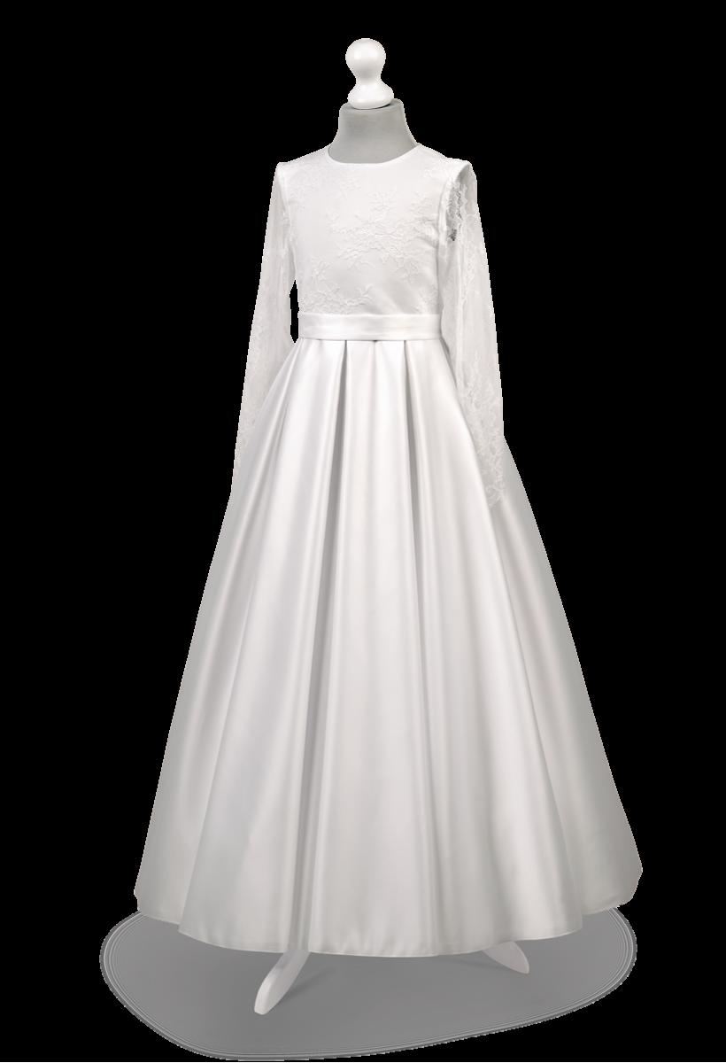 Satynowa sukienka z efektywną francuską koronką Elza BI-000