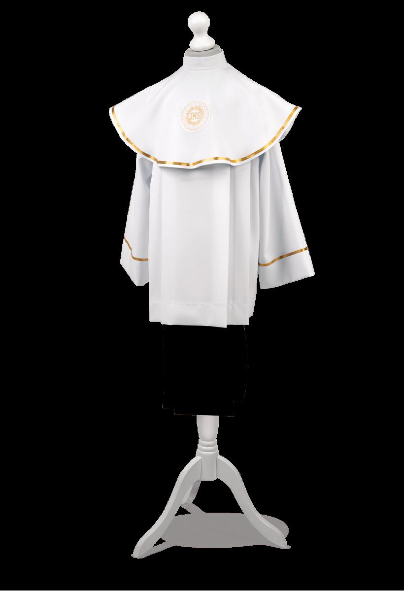 liturgiczny strój komunijny zdobiony złotą tasiemką Marek ZŁ-011+kołnierz