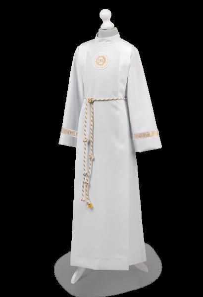 strój komunijny chłopięcy zdobiony taśmą z greckim wzorem Andrzej ZŁ-070
