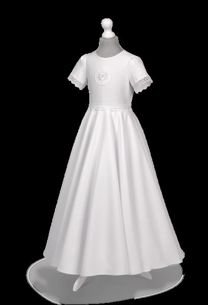 Piękna sukienka komunijna zdobiona koronką Alicja BI-096