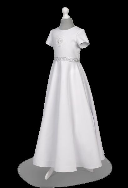 Sukienka komunijna ze srebrnymi dodatkami - Marta SR-097
