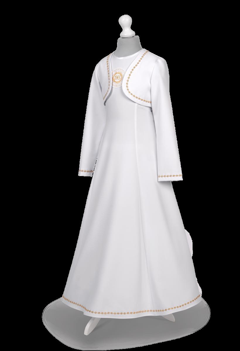 Sukienka komunijna ze złotymi zdobieniami Celinka Zł-064