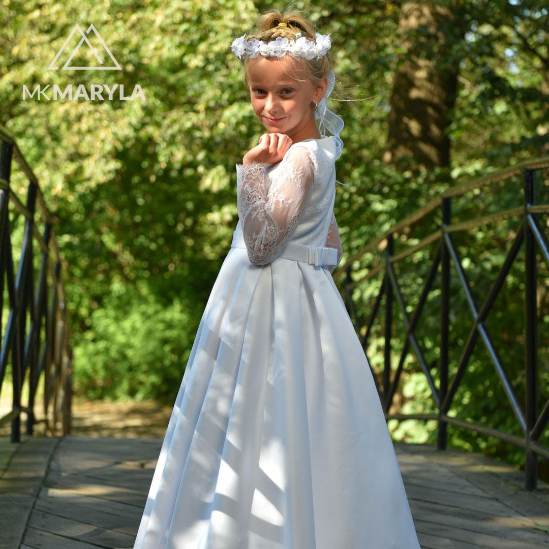 Elza BZ-000 - sukienka z koronką francuską do Pierwszej Komunii Św.