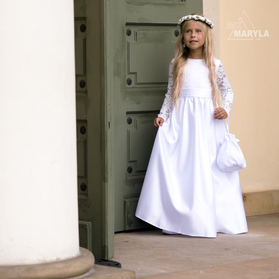 Sukienka do pierwszej Komunii Świętej z koronką - Anna SR-027